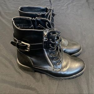 (2/$20) Black Faux Leather Buckle Booties